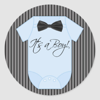 Little Man Baby Boy Shower Classic Round Sticker