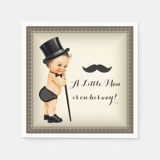 Little Man Baby Boy Shower Disposable Napkin