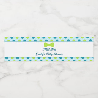 Little Man Baby Shower Bottle Label Teal Green