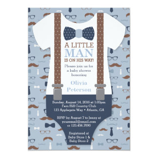 Little Man Baby Shower Invitation, Blue, Brown 13 Cm X 18 Cm Invitation Card