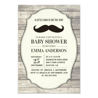 Little Man Baby Shower Invitation Country Mustache