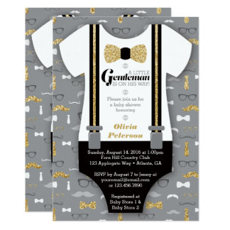 Little Man Baby Shower Invitation, Faux Glitter Card
