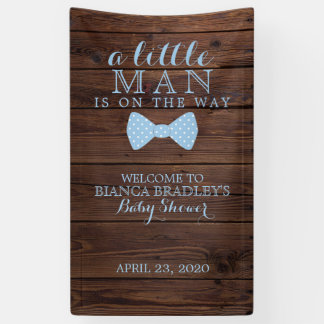 Little Man Baby Shower | Rustic Wood Bowtie Banner