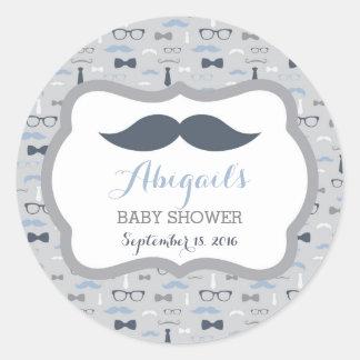 Little Man Baby Shower Sticker, Navy Blue, Gray Round Sticker