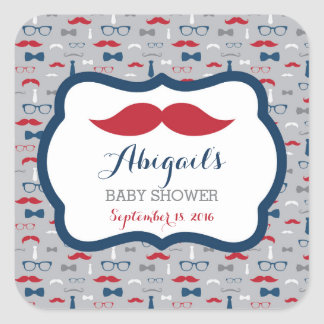 Little Man Baby Shower Sticker, Red, Blue, Gray Square Sticker
