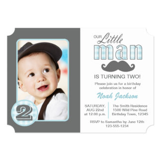 Little Man Birthday Mustache Photo Invitation