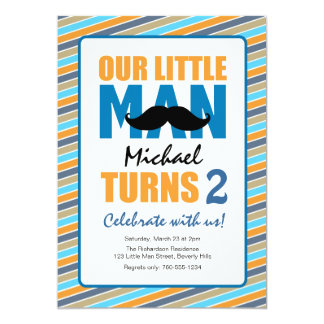 Little Man Birthday Party Card