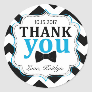 Little Man Bow-tie Chevron Print Thank You Round Sticker