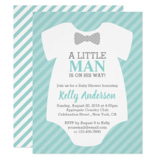 Little Man Boy Baby Shower Invitation - Blue