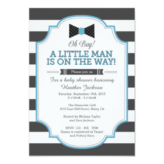 Little Man Invitation, Bow Tie Invitation 5x7