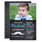 Little Man is turning 1 - photo, moustache, chalk Card