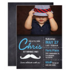 Little Man is turning one - photo, moustache, Card