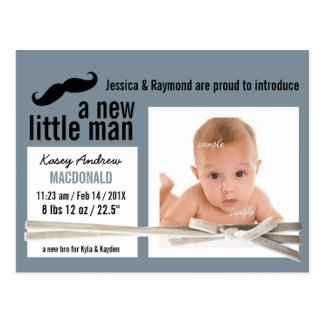 Little Man Moustache and Photo New Baby Postcard