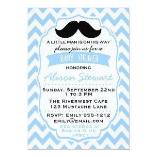 Little Man Moustache chevron Baby Shower Card