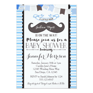 Little Man Mustache Baby Shower Invitation
