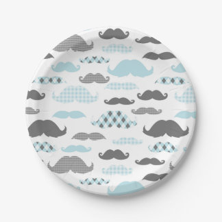 Little Man Mustaches Pattern Blue Paper Plate