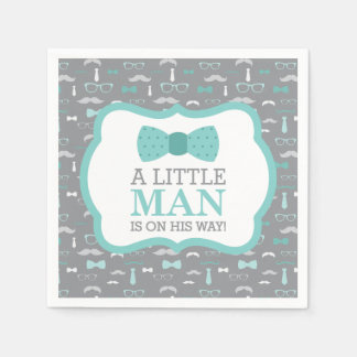 Little Man Napkin, Turquoise and Gray Disposable Serviette