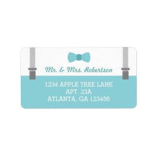 Little Man Return Address Label, Aqua and Grey Address Label