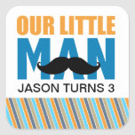 Little Man Square Sticker Labels