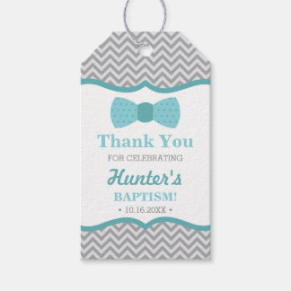 Little Man Thank You Tag, Aqua, Gray, Baptism Gift Tags