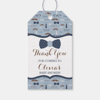 Little Man Thank You Tag, Blue, Brown, Bow Tie Gift Tags