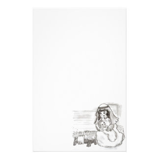 Little Mary and Baby Jesus Sketch Customized Stationery