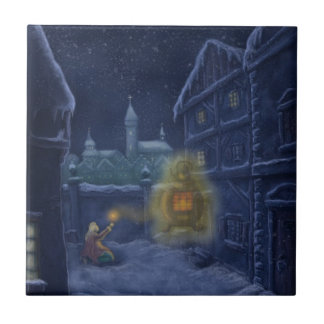 little matchstick girl winter fairytale small square tile