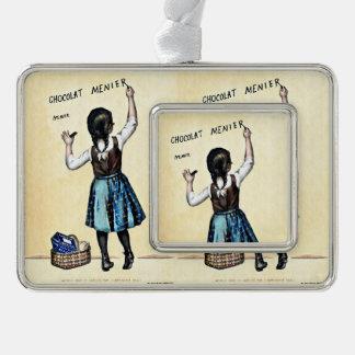 Little Menier Chocolat Girl Silver Plated Framed Ornament
