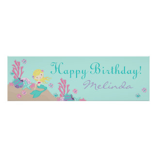 Little Mermaid Birthday Banner Blonde Poster