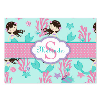 Little Mermaid Gift Tag L2 Brunette Business Cards