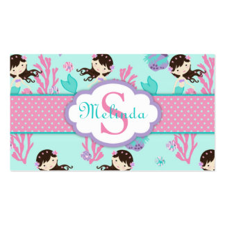 Little Mermaid Gift Tag M Brunette Business Card Template