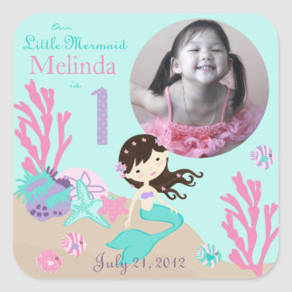 Little Mermaid Photo Sticker Brunette 1