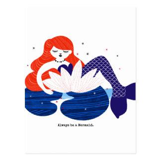 Little Mermaid resting in a Flower Postcard