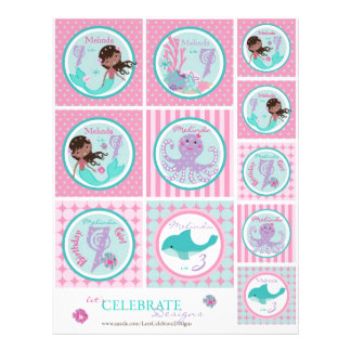 Little Mermaid Topper Template AA7 21.5 Cm X 28 Cm Flyer