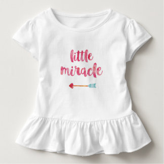 Little miracle typography baby girls ruffle shirt