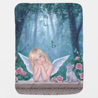 Little Miracles Angel & Kitten Baby Blanket