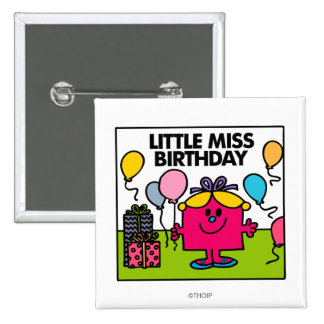 Little Miss Birthday | Presents & Balloons 15 Cm Square Badge