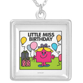 Little Miss Birthday | Presents & Balloons Square Pendant Necklace