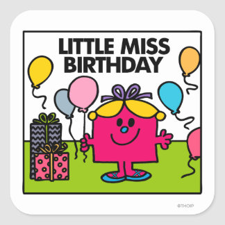 Little Miss Birthday | Presents & Balloons Square Sticker