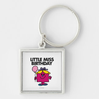 Little Miss Birthday With Pink Balloon Silver-Colored Square Keychain