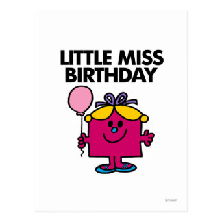 Little Miss Birthday With Pink Balloon Postcard