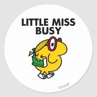Little Miss Busy Classic Round Stickers