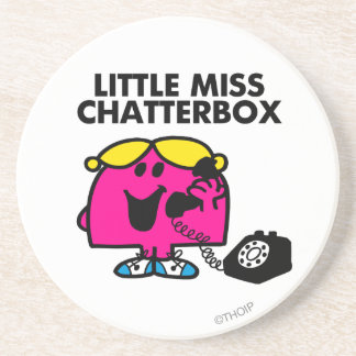Little Miss Chatterbox & Black Telephone Sandstone Coaster