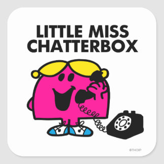 Little Miss Chatterbox & Black Telephone Square Sticker
