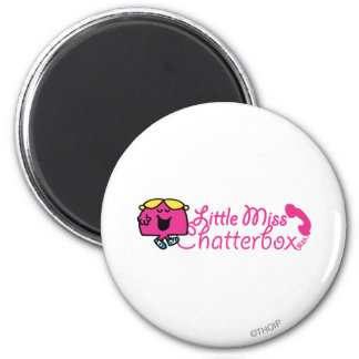 Little Miss Chatterbox | Telephone Cord Lettering 6 Cm Round Magnet