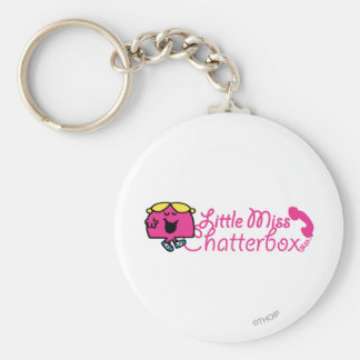 Little Miss Chatterbox | Telephone Cord Lettering Basic Round Button Key Ring