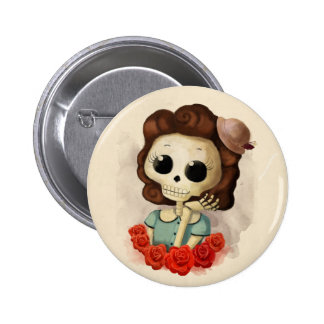 Little Miss Death and Roses 6 Cm Round Badge