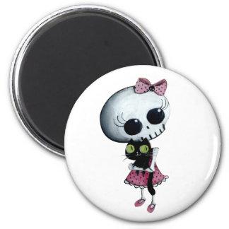 Little Miss Death - Halloween Beauty 2 Inch Round Magnet