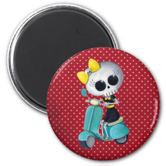 Little Miss Death on Scooter 6 Cm Round Magnet