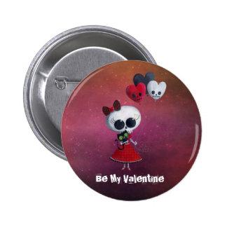 Little Miss Death Valentine 6 Cm Round Badge